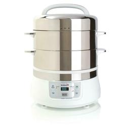 16.9 Qt. White Food Steamer And Rice Cooker With Built-In Ti