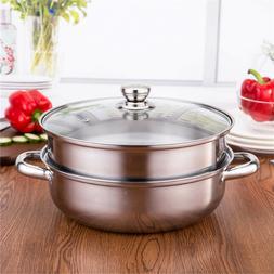 2 Tier 27.5cm Stainless Steel Food Steamer Pot Pan Vegetable