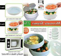 2 Tier Microwave Steamer Microwavable Food Cooker Vegetable