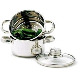 3 Pieces, Steamer with 1Qt Pot & Clear Glass Lid
