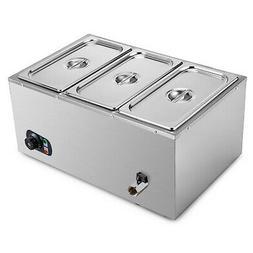 3-Pan Food Warmer Steam Table Steamer 3 Pots Large Capacity