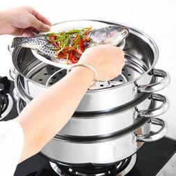 3tier steamer cooker Steam pot set Stainless Steel Kitchen c