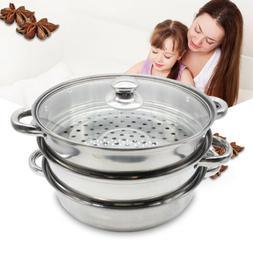 3Tier Stainless Steel Steamer Steam Pot Cooker Pan Hot Pot H