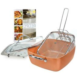 5 Pcs Cookware Set - Deep Square Casserole Pan, Fry Basket,