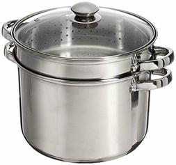 8 Quart Classic Stainless Steel Stock Pot with Steamer Pasta
