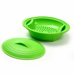 Norpro 180 Silicone Steamer with Insert, Green, Medium