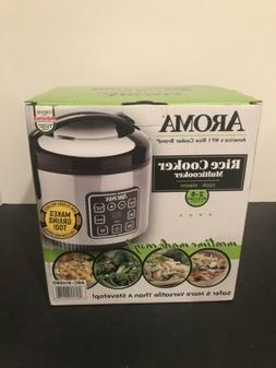 Aroma 8 Cup Cooked Digital Rice Cooker Stainless Steel Progr