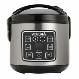 Aroma Stainless Steel 8Cup Cooked Digital Cool-Touch Rice Co