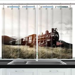 Black steam locomotive Kitchen Curtains 2 Panel Set Decor Wi