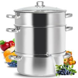 Deluxe Stainless Steel Steam Juicer with Tempered Glass Lid