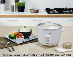 Electric Rice Cooker with Automatic Keep Warm, 6 Cups Cooked
