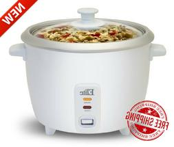 Electric Rice Cooker with Glass Lid 6 Cups Cooked Food Steam