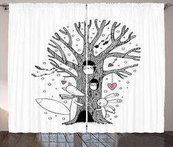 Illustration Curtains 2 Panel Set for Decor 5 Sizes Availabl