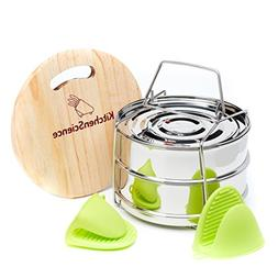 Kitchen Science Stackable Steamer Insert Pans with Sling for