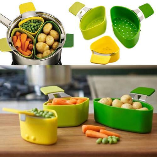 3Pc Silicone Steamer Basket Portable Vegetable Steam Kitchen