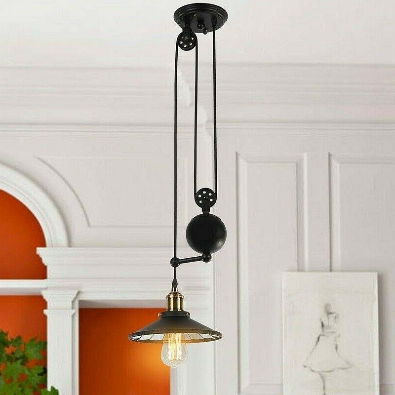 Farmhouse Light Fixture Pulley Chandelier Kitchen Dining Ind