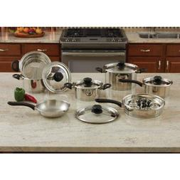 Maxam 18pc Stainless Steel Cookware Set With Steam Control K