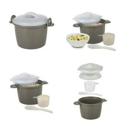 Microwave Rice Cooker Steamer Lid 6 Cup Bowl Kitchen 4 Piece