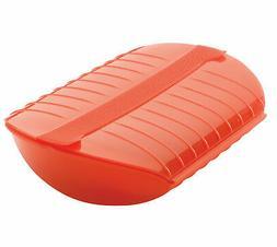 Lekue Microwave Steamer 1.5 Qt. Red Steam Case Healthy Cooki