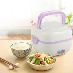 Portable 1L Stainless steel Electric Lunch Box Mini Rice Coo