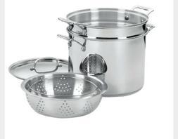 NEW Cuisinart 12 Qt Stainless Steel Multi-Pot Set, Steamer b