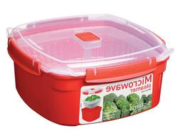 New Sistema Microwave Large Red Steamer with Removable Steam