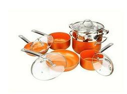 Copper H-02628 Pan 10-Piece Luxury Induction Cookware Set No
