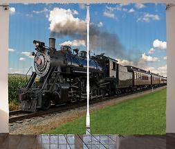Steam Engine Curtains Countryside Train Window Drapes 2 Pane