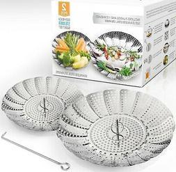 Two-Pack  Vegetable Steamer Basket Set - 2X Steamer Inserts